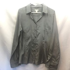 J. Crew Size 12 Gray Long Sleeve Button Up Blouse